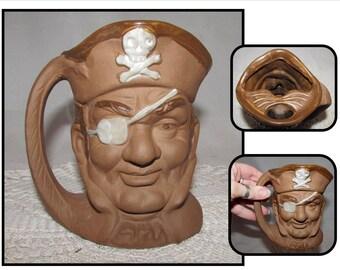 Vintage Pirate Sea Captain Mustache Mug Cup, brown, Skull Crossbones, Eye patch