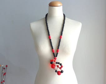 Black red statement necklace long necklace wire necklace