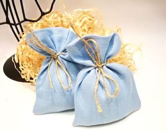 25 Natural Linen light blue favor bags Wedding favor bags Linen gift bags Baby shower bags  Small linen bags Party supplies