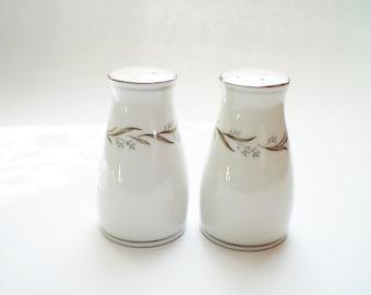 Noritake Almont Porcelain Salt & Pepper Shakers Mid Century Modern Formal White China Platinum Silver Trim