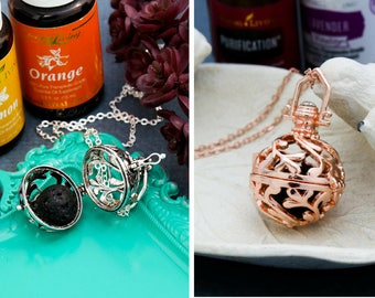 Diffuser Necklace Locket Essential Oil Necklace • Lava Bead Rose Gold Locket Jewelry Aromatherapy Necklace Oil Locket Gift • Aromatherapy
