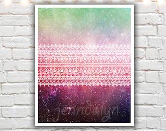 bohemian art, boho chic decor, boho art, giclee print, mixed media art, henna pattern, celestial, magenta, gypsy decor, aztec pattern
