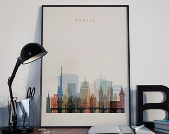 Prague Art Prague Watercolor Prague Multicolor Prague Print Prague Poster Prague Wall Art Prague Wall Decor Prague Home Decor Prague Skyline