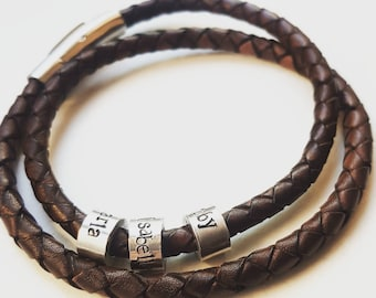 Men's leather bracelet, father's day gift, men's name bracelet personalised valentines day gift, coordinates, gift for him