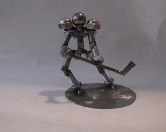 Hockey Player, Metal Bolt Figurine, Athlete, Upcycled Art