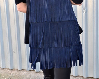 Blue suede tote with fringes
