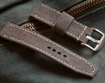 Toasted Almond Canvas Watch Strap in 20mm, 22mm, 24mm sizes