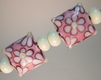 MATCHED PAIRS OF Handmade Lampwork Beads by Patti Cahill, Flowered Pillows + 4 Uraniums Plains (6 beads total)