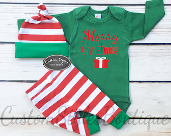 Baby Boys Christmas Outfit, Merry Christmas, Red and White Striped Leggings And Hat With Green Cuffs,Baby Boys Christmas Outfit