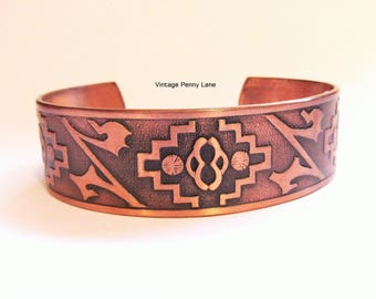 Vintage Copper Cuff Bracelet, Native American Design