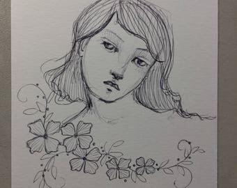 Original Pen sketch #1 girl with flowers