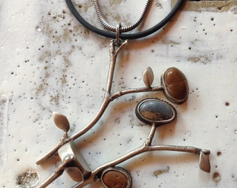 Twig Chair with Beach stones necklace OOAK, sterling silver