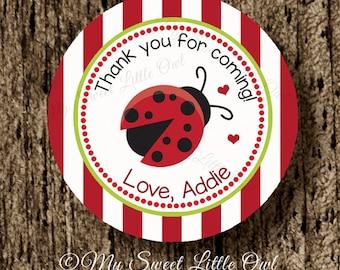 Ladybug thank you tag - red ladybug label - ladybug sticker - ladybug baby shower - ladybug birthday - ladybug printable - cupcake topper