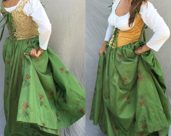 Renaissance Festival Wench Corset Bodice- 2 color harlequin laces front and back Ren Faire Costume, any colors you pick