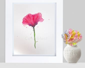 Watercolor Poppy. Abstract  pink Poppy ~ Flower Art Print.  Free Shipping inside US. White and pink room decor.