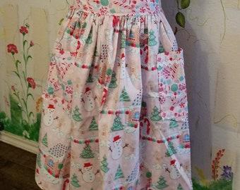 XL Half Apron with Pockets Candy Land Print Christmas