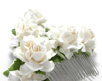 Ivory White Rose Hair Comb/ Traditional/ Bridal/ Wedding Hair Accessories/ Bridesmaid Hair Fascinator
