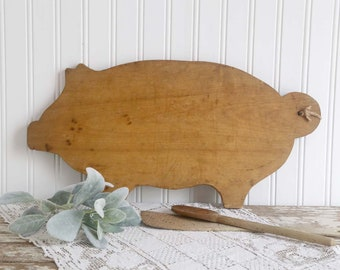 Vintage Pig Cutting Board, Wooden Pig Cutting Board, Farmhouse Kitchen Decor, Country Kitchen