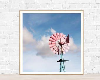 """Square Photo : """"Windmill"""" - Windmill Wall Decor - Gift for Her - Windmill Print - Pink Windmill - Kids Bedroom Art - Pastel Pink Blue Print"""