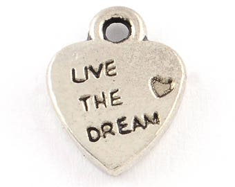25 Live the Dream Charms - Antique Silver - 12x9mm - Ships IMMEDIATELY From California - SC1380