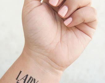 Lady Boss Tattoo - Temporary Tattoos - Boss Lady Gifts - Female Empowerment - Boss Babe - Feminist Tattoo - Girl Boss Tattoo - Gift for Her