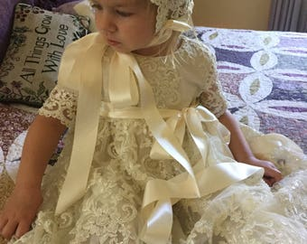 Juliette Ivory Christening/Dress  Gown and Cap, Bib,Shoes.