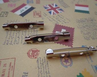 200PCS--31x5mm--Silver metal bar pin back brooch