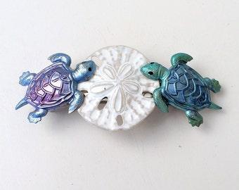 Turtle Hair Barrette, Sea turtle and Seashell