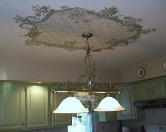 Hand Painted Ceiling Medallion,  Home Decor, Custom Ceiling Medallion,  Ceiling Mural