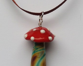 Set of three Toadstool decorations. Lampworked glass