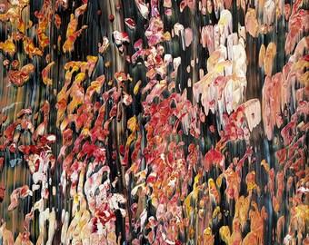 Wall Art Original Autumn Acrylic Painting in White Mat