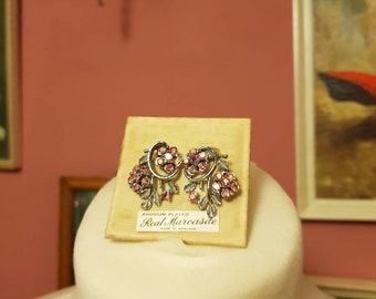 Vintage brooch and clip on pink marcasite earrings