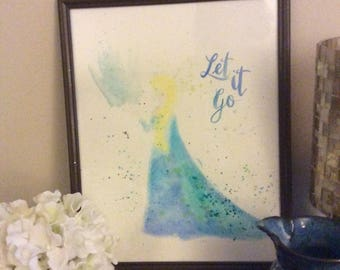Disney Queen Elsa Image watercolor painting