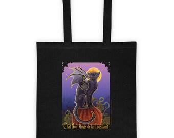 Halloween Bat winged Black Cat Tote bag