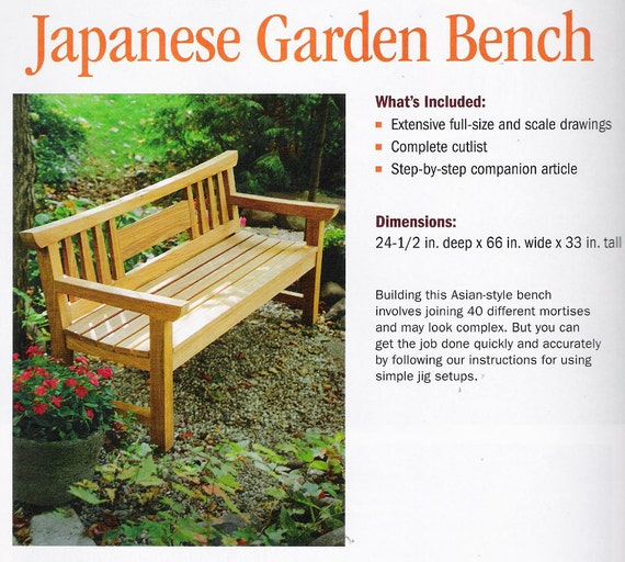 Plans To Build Teak Japanese Garden Bench, By Fine Woodworking Project Plans,  New And Unused, Published By The Taunton Press.