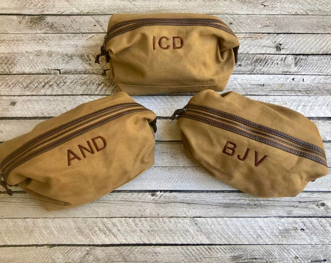 Monogrammed Dopp Kit, Groomsman Gifts, Father's Day Gifts, Monogrammed Toiletry Bag, Gifts for him, Canvas Leather Travel Kit