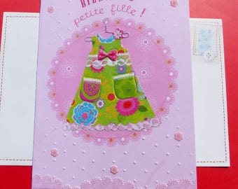 Congratulations baby girl pink and green welcome card girl greeting card with envelope