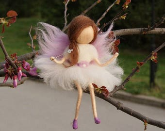 Little Wool Fairy,Sitting fairy, needle felt fairy, Waldorf fairy, Fairy miniature, Waldorf Inspired Wool Fairy, Waldorf Nursery Decor