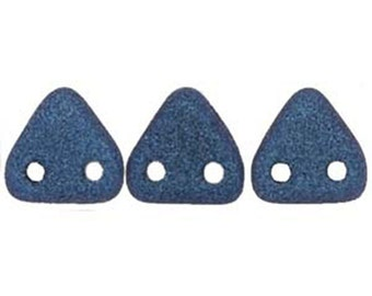 Blue Polychrome Suede Two Hole Czech Mates Czech Glass Triangle Beads 6mm 9 grams TRI06-79031JT
