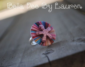 Sassy Multi Colored Big Button Wire Wrapped Adjustable little girl's Ring