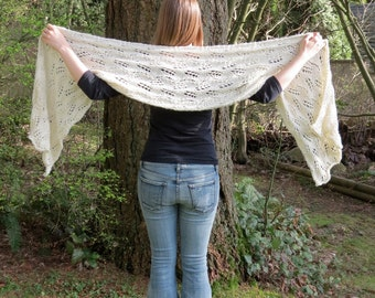 Ivory Dream Lace Wrap hand knit shawl scarf