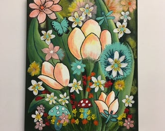 Acrylic Flower Painting, Floral Fantasy Art, Wall Art, 8x10 Canvas Artwork, Springtime Gift, Girls Bedroom Art, Girls Birthday Gift
