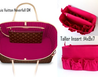 Taller and Diaper Extra Large Purse organizer for Louis Vuitton Neverful GM in Pink fabric with elastic pockets