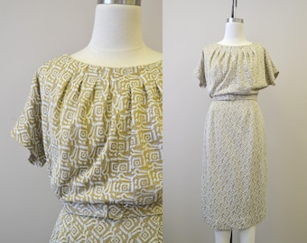 1950s Syd White and Gold Knit Wiggle Dress