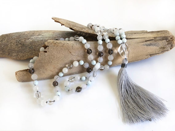 Mala Beads To Help With Negativity, Clear Quartz And Smoky Quartz Mala Necklace, Aquamarine And Agate Mala, 108 Beads Knotted Mala