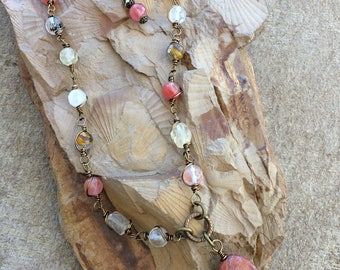 Semi Precious Rhodonite and watermelon crystal necklace