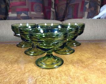 Anchor Hocking Fairfield Avocado Comport Glasses Set of 6