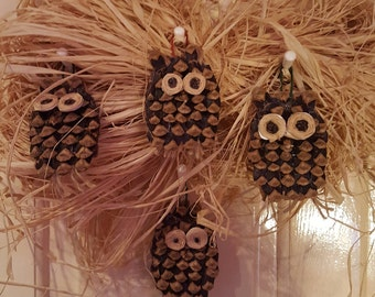 Owl pine cone decoration. Altar, home, protection. Free UK postage