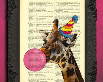 Giraffe bubblegum art print, party animal giraffe illustration funny poster giraffe decor, pink bubbles digital prints