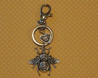 Queen Bee Keychain, Purse or Bag charm, Silvertone,  Free USA Shipping